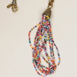"Rachel Brass Chain Beaded Pendant 26"" Necklace#260"